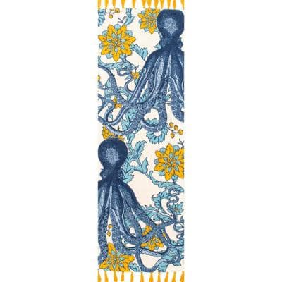 Thomas Paul Contemporary Floral Octopus Multi 3 ft. x 12 ft. Runner