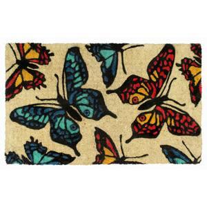 Multi 18 in. x 30 in. Butterfly Coir Doormat