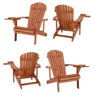 Classic Walnut Wood Adirondack Chair (4-Pack)