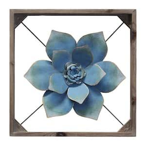 Bold Blue Framed Metal Flower