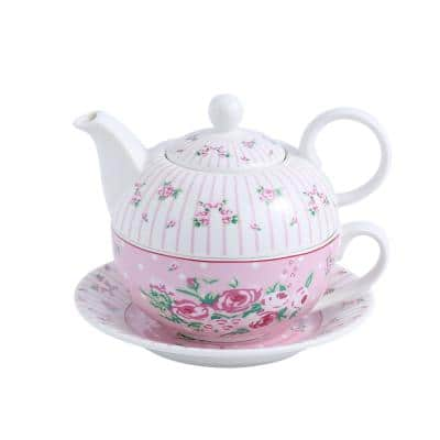 Porcelain Tea Pot Set for One 11 Ounce Teapot 1 Piece Teacup and Saucer Set