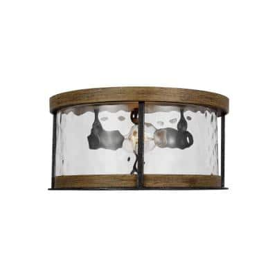 Angelo 13.75 in. 2-Light Distressed Weathered Oak and Slate Grey Metal Flush Mount with Thick Wavy Glass Shade
