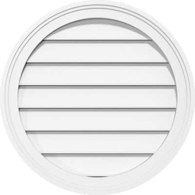 24 in. x 24 in. Round Surface Mount PVC Gable Vent: Functional with Brickmould Frame