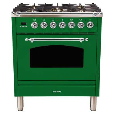 30 in. 3.0 cu. ft. Single Oven Italian Gas Range with True Convection, 5 Burners, Chrome Trim in Emerald Green