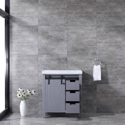 Marsyas 30 Inch Single Bathroom Vanity in Dark Grey With Top