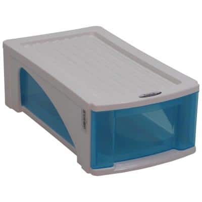 5.375 H 1-Pair 1-Tier Blue Polypropylene Shoe Rack