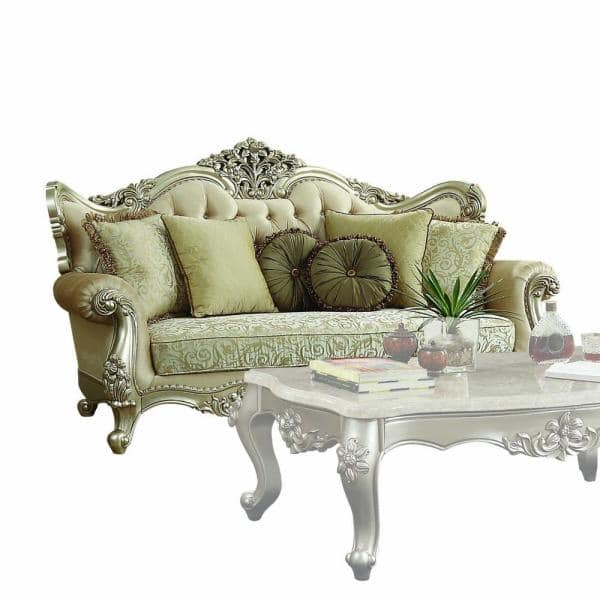 Homeroots Amelia 41 In Champagne Pattern Fabric 4 Seater English Rolled Arm Sofa With Removable Cushions 348214 The Home Depot