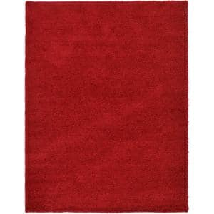 Solid Shag Cherry Red 9 ft. x 12 ft. Area Rug