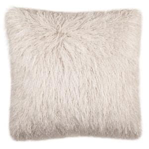 Shag Modish Metallic Snow 20 in. x 20 in. Throw Pillow