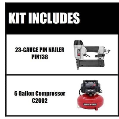 6 Gal. 150 PSI Portable Electric Air Compressor and Pin Nailer Combo Kit (2-Tool)