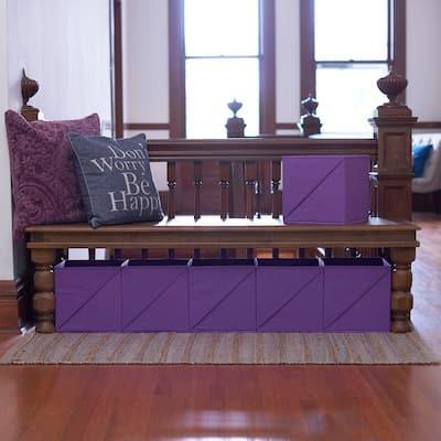 11 in. H x 11 in. W x 11 in. D Purple Fabric Cube Storage Bin 6-Pack