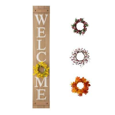 60 in. H Wooden Welcome Porch Sign, with 4 Changable wreathes (Spring/Patriotic /Fall/Christmas )
