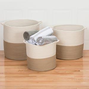 Craftworks 18 in. x 18 in. x 17 in. Sand Round Polypropylene Braided Basket