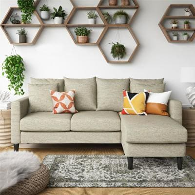 Henderson 2-Piece Beige Polyester 3-Seater L-Shaped Reversible Sectional Sofa with Removable Cushions