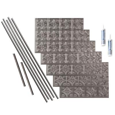 Traditional 1 18 in. x 24 in. Galvanized Steel Vinyl Decorative Wall Tile Backsplash 15 sq. ft. Kit