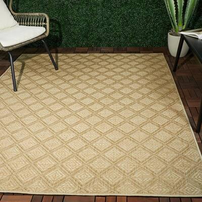 Irving Beige 8 ft. x 10 ft. Geometric Flatweave Indoor/Outdoor Area Rug