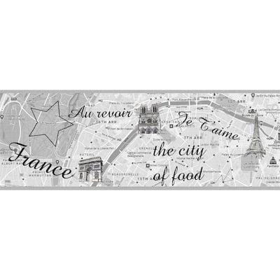 Falkirk Dandy Grey Paris City of Food Modern Peel and Stick Wallpaper Border