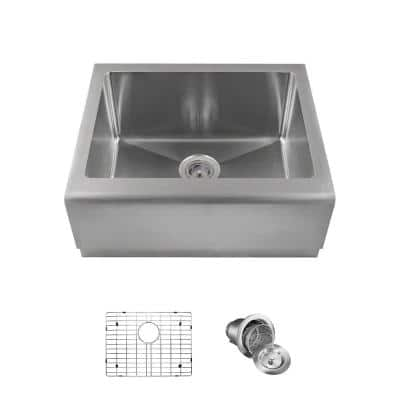 Farmhouse Apron Front Stainless Steel 23-3/4 in. Single Bowl Kitchen Sink with Additional Accessories