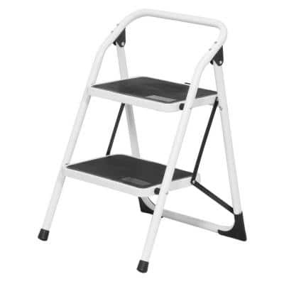 2-Step Steel Utility Step Stool Ladder with 300 lbs. Load Capacity