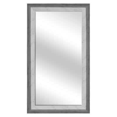 Large Rectangle White Marble W/ Black Beveled Glass Contemporary Mirror (54.5 in. H x 30.5 in. W)