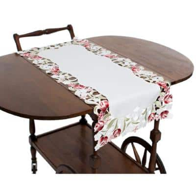 Lush Rosette 16 in. x 34 in. White Embroidered Cutwork Table Runner