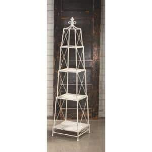 64.75 in. White Metal 4-shelf Etagere Bookcase with Open Back
