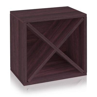 16 in. H x 16 in. W x 10 in. D Espresso Wood 1-Cube Storage Organizer