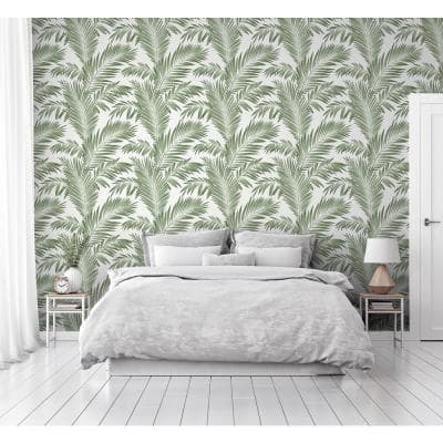 Tropical Palm Fabric Peel & Stick Wallpaper Roll (Covers 33 Sq. Ft.)