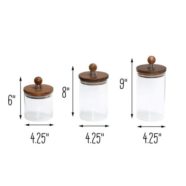 Honey Can Do 3 Piece Acacia Top Glass Kitchen Canister Set Kch 08571 The Home Depot