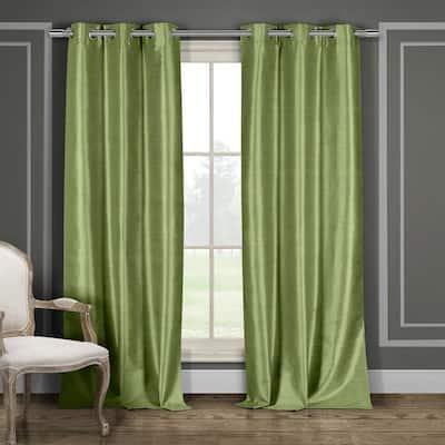 Sage Solid Grommet Room Darkening Curtain - 38 in. W x 84 in. L (Set of 2)