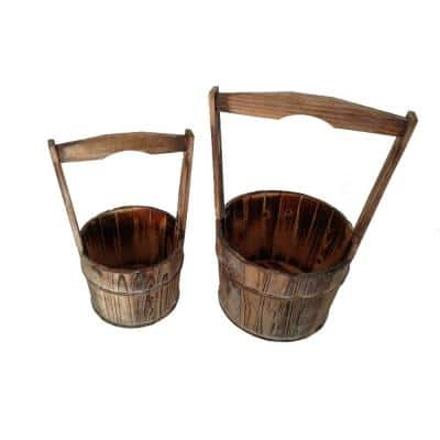 Old School 10 in. Dia. Brown Wooden Planters with Large Heightened Handles (Set of 2)