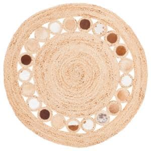 Natural Fiber Beige/Brown 4 ft. x 4 ft. Round Area Rug