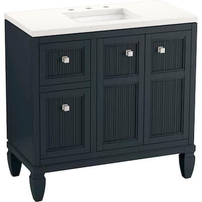 Hearthaven 36.5625 in. W x 18.0625 in. D x 35.8125 in. H Bathroom Vanity in Slate Grey with Quartz Top