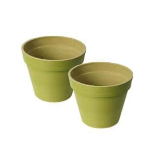 Valencia 10 in. Round Banded Spun Green Polystone Planter (2-Pack)