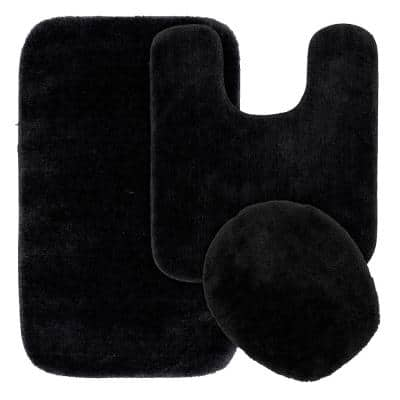 Traditional Black 3-Piece Washable Bathroom Rug Set