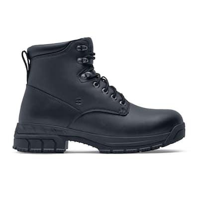 Women's August Wellington Work Boots - Steel Toe - Black Size 7.5(M)