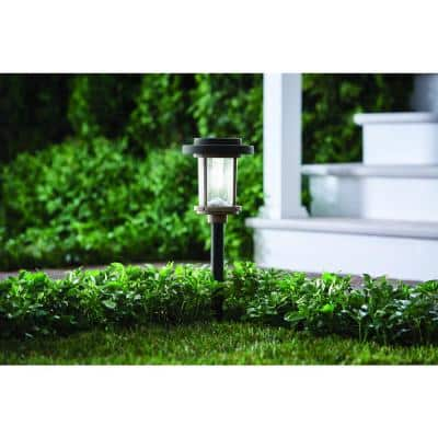 20 Lumens Solar 2-Tone Black and Grey Finish Diecast LED Landscape Pathway Light with Seedy Glass Lens and Vintage Bulb