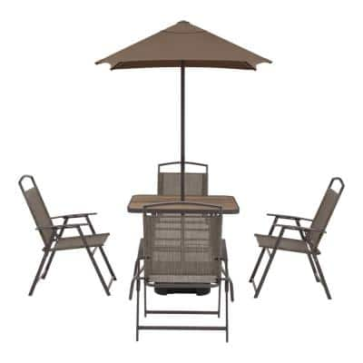 Mix and Match 7-Piece Metal Sling Folding Outdoor Dining Set with Umbrella and Base
