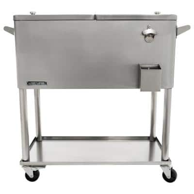 80 Qt. Stainless Steel Patio Cooler With Bottom Tray