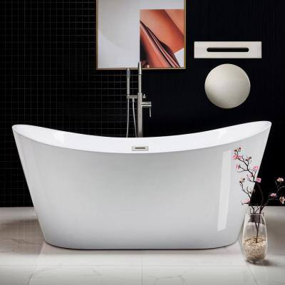 Calhoun 67 in. Acrylic FlatBottom Double Slipper Bathtub with Brushed Nickel Overflow and Drain Included in White