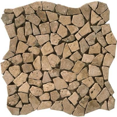 Trav Ancient Tumbled Mocha Honed and Tumbled 11.02 in. x 11.02 in. x 10 mm Pebbles Mesh-Mounted Mosaic Tile (1 sq. ft.)