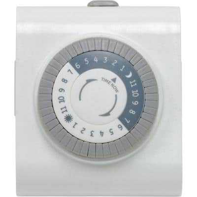 15 Amp 24-Hour Indoor Plug-In Heavy-Duty Mechanical Timer with 2-Grounded Outlets, White