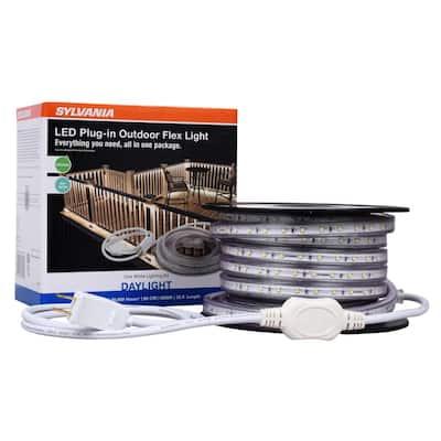 Plug-in White Outdoor Flex LED Landscape Lighting Deck Rail Light