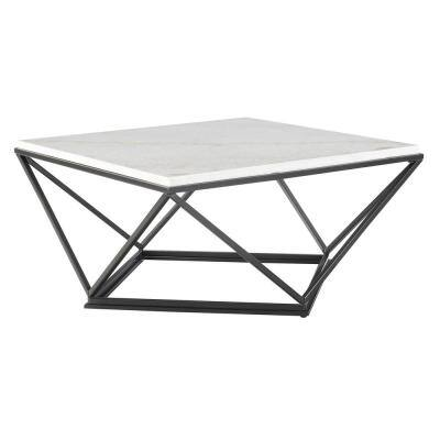 Conner Square Marble Coffee Table in White