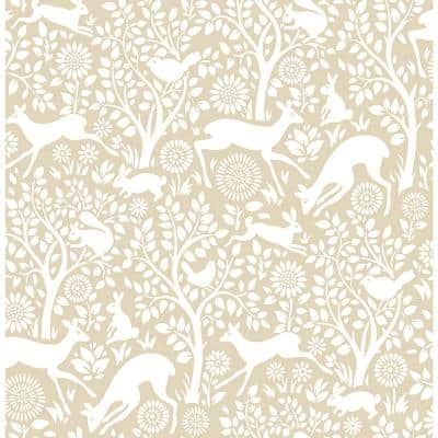 Meadow Taupe Animals Taupe Paper Strippable Roll (Covers 56.4 sq. ft.)