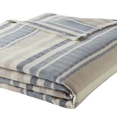 Blue Cotton Woven Blanket