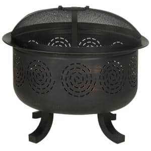 Negril 28 in. x 24 in. Round Iron Wood Burning Fire Pit in Copper and Black