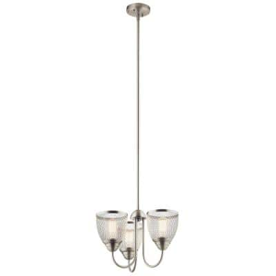 Voclain 75-Watt Integrated LED 3-Light Brushed Nickel Convertible Chandelier with Mesh Shade