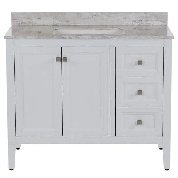 Moen Darcy 43 In W X 22 In D Bath Vanity In White With Stone Effect Vanity Top In Winter Mist With White Sink Dc42p2v3 Wh The Home Depot