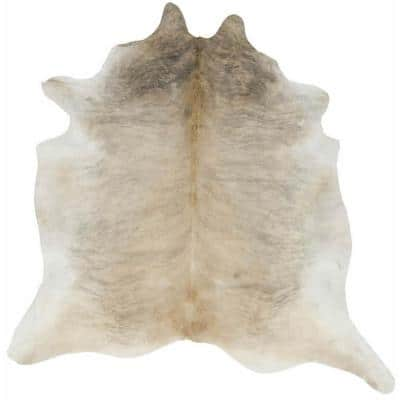 Hand Curated Cowhide Gueston Tan 5 ft. 0 in. x 6 ft. 6 in. Area Rug